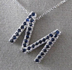 "ESTATE LARGE .66CT AAA SAPPHIRE 14KT WHITE GOLD 3D "" M "" INITIAL PENDANT #16514"