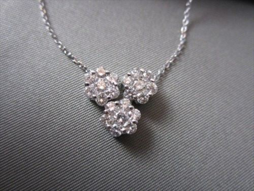 ANTIQUE 1.14CT DIAMOND FLOWER 14KT WHITE GOLD PENDANT F COLOR VVS SIMPLY AMAZING