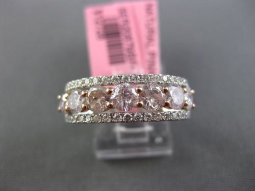 ESTATE 1.95CT WHITE & PINK DIAMOND 18K WHITE GOLD SEMI ETERNITY ANNIVERSARY RING