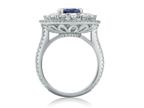 GIA CERTIFIED 5.98CT DIAMOND & AAA SAPPHIRE 18KT WHITE GOLD OVAL ENGAGEMENT RING