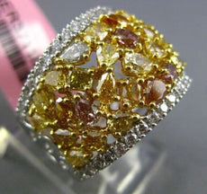 ESTATE LARGE 3.56CT WHITE & MULTI COLOR DIAMOND 18K 2 TONE GOLD 3D COCKTAIL RING