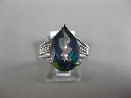 LARGE 5.15CT DIAMOND & AAA MYSTIC TOPAZ 14KT WHITE GOLD FILIGREE ENGAGEMENT RING