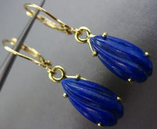ANTIQUE AAA LAPIS 18K YELLOW GOLD 3D TEAR DROP LEVERBACK HANGING EARRINGS #25732