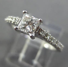 ESTATE .66CT ROUND & PRINCESS DIAMOND 14KT WHITE GOLD SOLITAIRE ENGAGEMENT RING