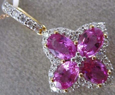 ESTATE LARGE 2.89CT DIAMOND & AAA PINK SAPPHIRE 18KT ROSE GOLD 3D FLOWER PENDANT