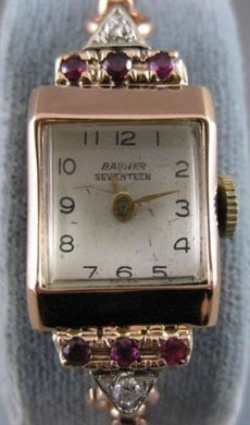 ANTIQUE OLD EURO MINE CUT DIAMOND RUBY 14 PINK ROSE GOLD BANNER WATCH #20315
