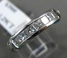 ESTATE 1.29CT PRINCESS & BAGUETTE DIAMOND 14KT WHITE GOLD ANNIVERSARY RING #1213
