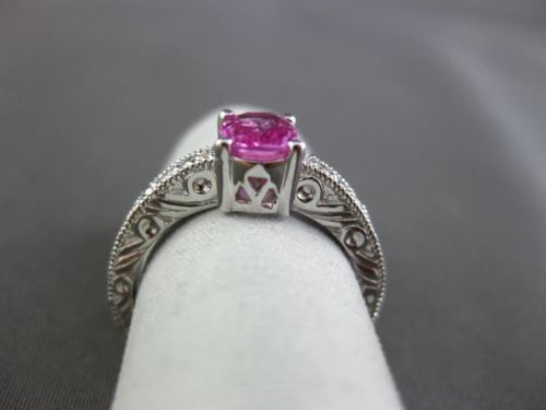 ANTIQUE 1.10CT DIAMOND & AAA PINK SAPPHIRE 14KT WHITE GOLD ENGAGEMENT RING 15783