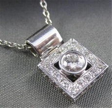 ESTATE WIDE .51CT DIAMOND 14KT WHITE GOLD SQUARE ROUND SOLITAIRE PENDANT #18693