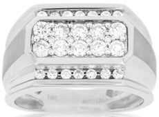 ESTATE 1.0CT ROUND DIAMOND 14KT WHITE GOLD 3D MULTI ROW OCTAGON GYPSY MENS RING