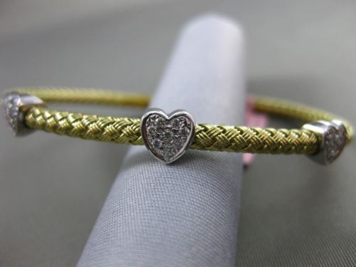 ESTATE .25CT DIAMOND 14K WHITE & YELLOW GOLD HEART FLEXIBLE LOVE BANGLE BRACELET