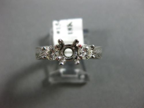 ANTIQUE .50CT DIAMOND 18K WHITE GOLD FILIGREE 3 STONE SEMI MOUNT ENGAGEMENT RING