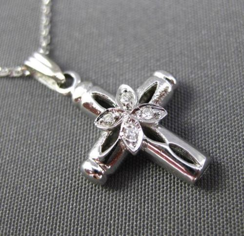 ANTIQUE .04CT DIAMOND 14K WHITE GOLD FLORAL CROSS FLOATING PENDANT & CHAIN 16217