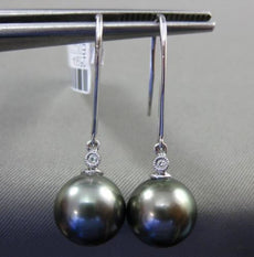 ESTATE .20CT DIAMOND 14KT WHITE GOLD AAA TAHITIAN PEARL ETOILE HANGING EARRINGS