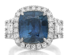 GIA CERTIFIED 11.84CT DIAMOND & AAA SAPPHIRE PLATINUM 3D 3 STONE ENGAGEMENT RING