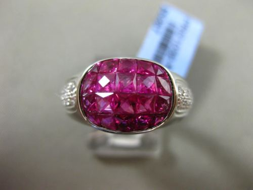 ESTATE WIDE 4.47CT DIAMOND & AAA EXTRA FACET RUBY 18KT WHITE GOLD OVAL MENS RING