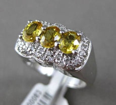 ANTIQUE 1.53CT DIAMOND & OVAL YELLOW SAPPHIRE 18KT WHITE GOLD HALO COCKTAIL RING