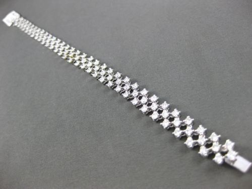 ESTATE WIDE 5.51CT DIAMOND 18KT WHITE GOLD 3D THREE ROW FLEXIBLE TENNIS BRACELET