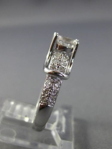 ESTATE .73CT ROUND & OVAL DIAMOND 14KT WHITE GOLD CLASSIC ENGAGEMENT RING #25939