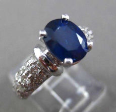 ESTATE LARGE 2.82CT DIAMOND & SAPPHIRE 14KT WHITE GOLD 3D ENGAGEMENT RING #23889