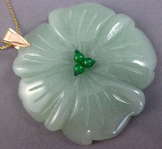 ESTATE EXTRA LARGE AAA JADE 14KT YELLOW GOLD 3D HANDCRAFTED FLOWER PENDANT 26192