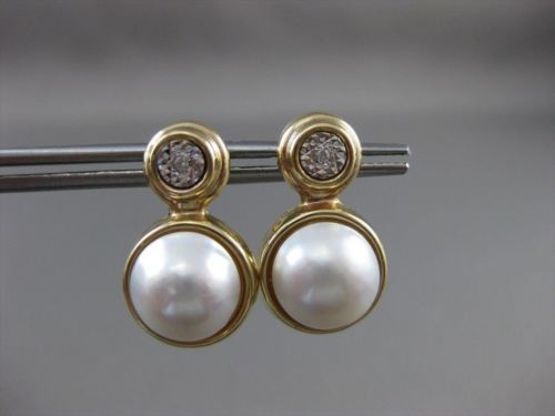 ANTIQUE .02CT DIAMOND & 10mm AAA SOUTH SEA MABE PEARL 14KT W & Y EARRINGS #ELV30