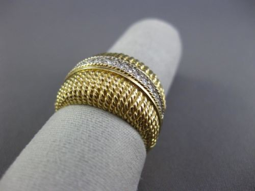 ESTATE WIDE .25CT ROUND DIAMOND 14KT WHITE & YELLOW GOLD 3D MULTI ROW BEAD RING