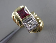 ANTIQUE .95CT OLD MINE DIAMOND & RUBELLITE 14K 2 TONE GOLD SWIRL MENS RING 19295