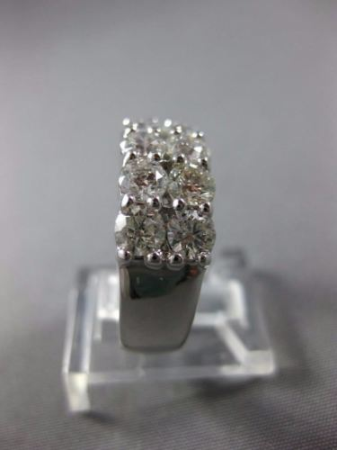 LARGE 2.30CT ROUND DIAMOND 14K WHITE GOLD 3D DOUBLE ROW WEDDING ANNIVERSARY RING