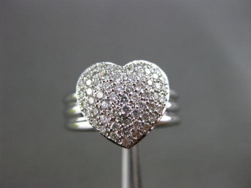 ANTIQUE WIDE .70CT DIAMOND 18KT WHITE GOLD PAVE HEART FLOATING FUN RING #14321
