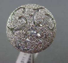 ESTATE LARGE 1.55CT DIAMOND 18KT WHITE GOLD OPEN FILIGREE CIRCULAR COCKTAIL RING