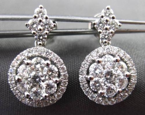 ESTATE 1.12CT ROUND DIAMOND 18KT WHITE GOLD FLOWER CLUSTER HANGING EARRINGS