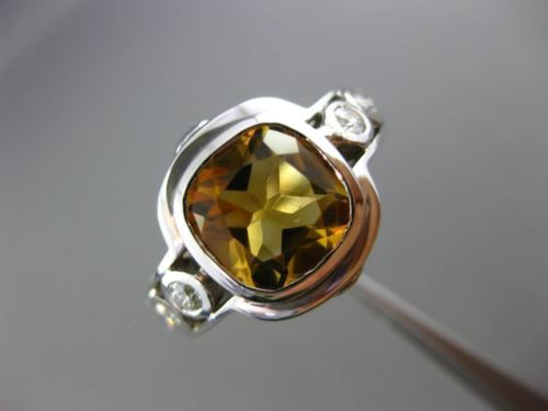 LARGE 8.74CT DIAMOND & AAA CITRINE 14KT WHITE GOLD SQUARE ETOILE ENGAGEMENT RING