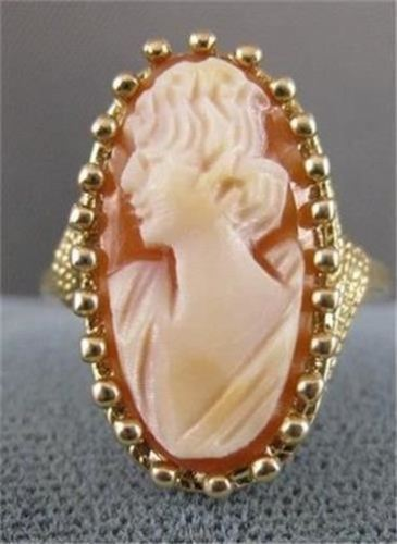 LONG ANTIQUE 14KT YELLOW GOLD LADY CAMEO SHELL FILIGREE COCKTAIL RING #19463