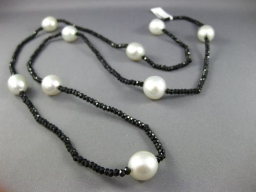 ESTATE LONG HANDCRAFTED AAA SOUTH SEA PEARL & BLACK SPINAL BY THE YARD NECKLACE
