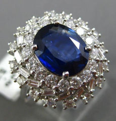 ESTATE LARGE 5.64CT DIAMOND & SAPPHIRE 18KT WHITE GOLD HALO FANCY COCKTAIL RING