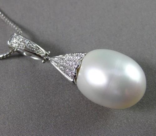 ESTATE LARGE AAA SOUTH SEA PEARL & DIAMOND 14KT WHITE GOLD PENDANT W/ CHAIN #634