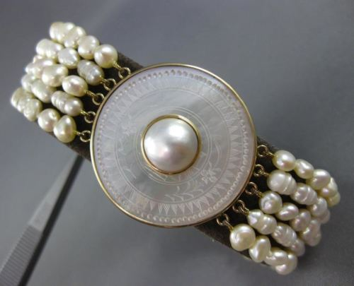 ESTATE LARGE PEARL & MOTHER OF PEARL 14KT YELLOW GOLD CIRCULAR BRACELET #25588