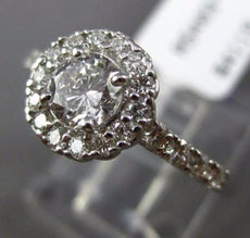 ESTATE .95CT ROUND DIAMOND 14KT WHITE GOLD CLASSIC 4 PRONG HALO ENGAGEMENT RING