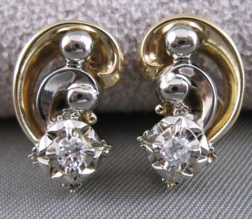 ANTIQUE OLD EURO MINE DIAMOND 14KT 2 TONE GOLD FILIGREE MUSIC EARRINGS #20123
