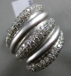 ESTATE 2.05CT DIAMOND 18KT WHITE GOLD MULTI ROW PAVE CRISS CROSS COCKTAIL RING