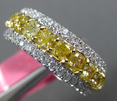 LARGE 6CT WHITE & FANCY YELLOW DIAMOND 18KT 2 TONE GOLD WEDDING ANNIVERSARY RING
