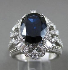 ESTATE EXTRA LARGE 8.25CT DIAMOND & SAPPHIRE 18KT TWO TONE GOLD ENGAGEMENT RING