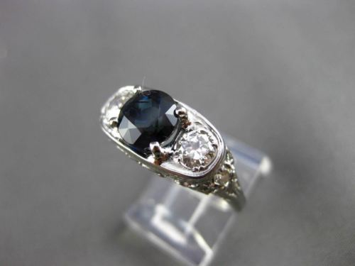 ANTIQUE 2.91CT DIAMOND & SAPPHIRE 14KT WHITE GOLD FILIGREE ENGAGEMENT RING 24467