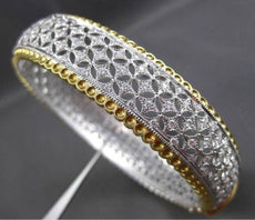 ESTATE WIDE 2.54CT DIAMOND 18K TWO TONE GOLD 3D FILIGREE BANGLE BRACELET E/F VVS