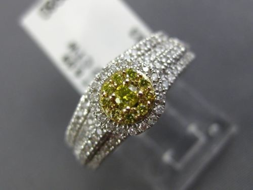 .77CT WHITE & FANCY YELLOW DIAMOND 14K WHITE GOLD 3D CLUSTER ENGAGEMENT RING SET