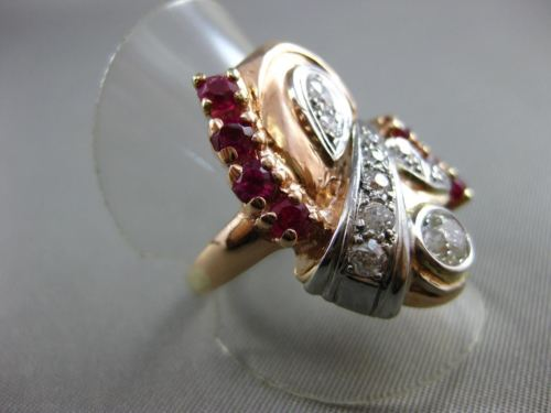 ANTIQUE 1.43CT OLD EURO CUT DIAMOND & AAA RUBY 14K WHITE & ROSE GOLD RING #19961