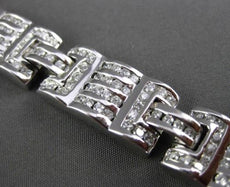 ESTATE WIDE & LONG 3.0CT ROUND DIAMOND 14KT WHITE GOLD 3D MENS BRACELET 11mm