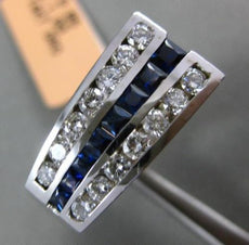 ESTATE 1.85CT DIAMOND & SAPPHIRE 14K WHITE GOLD RECTANGULAR GRADUATING MENS RING