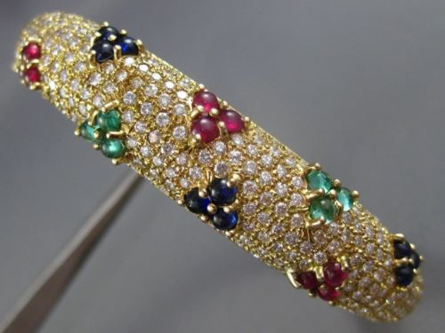 WIDE 6.50CT DIAMOND & AAA SAPPHIRE RUBY & EMERALD 14KT YELLOW GOLD BANGLE #26045